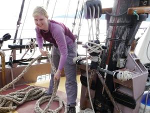 Preparing mooring lines for docking in Sandnessjoen.