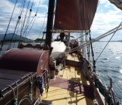 The schooner Trinovante sailing through Bronnoysund, Norway.