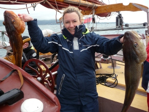Catching cod on a schooner