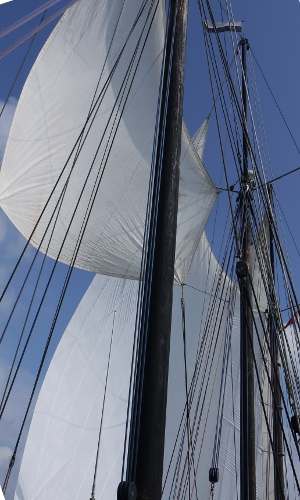 Fishakker and fishermans topsail set on a three masted schooner.