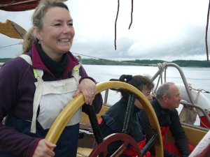 Julie gets to grips with helming.