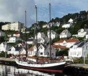 The schooner Trinovante alongside in Farsund, Norway.