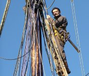 Rigging work on the fore topmast onboard the schooner Trinovante