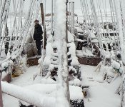 Snow on the deck of the schooner Trinovante