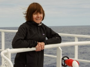 Alison at sea, heading for the Antarctic.