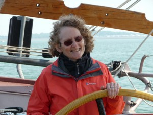 Lynne getting the hang of steering.