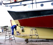 Getting Trinovante ready for sailing holidays