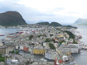 The island art nouveau town of Alesund, Norway.