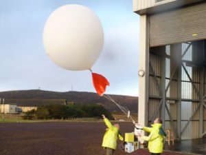 A weather balloon launches from Lerwick