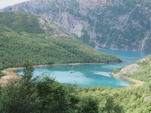 The schooner Trinovante anchored in a fjord on a Norway sailing holiday
