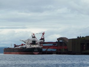Ship at Namsos, Norway, loading iron ore.