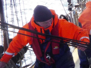 Roger on the foredeck during an offshore voyage on a schooner.