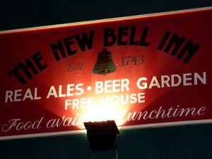 The New Bell Inn pub sign, a welcome sight at the end of a voyage.