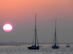Sunset at the end of a sailing holiday on the East Coast.