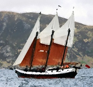The little schooner looking for the magic fjord.