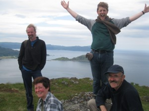 Earl John, Captain Su, Orkney Paul and Oaf Neil celebrate climbing a mighty mountain