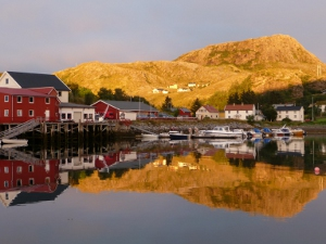 Sunset view of a fishing village in Norway.